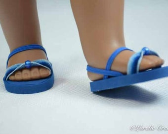 American Girl, 18 inch doll SANDALS SHOES Flipflops in Ombre Blue with Bead Trim and Ankle and Heel Strap