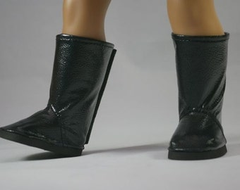"""Retro BOOTS in Shiny BLACK PATENT Faux """"Leather"""" for American Girl or 18 """" Doll"""