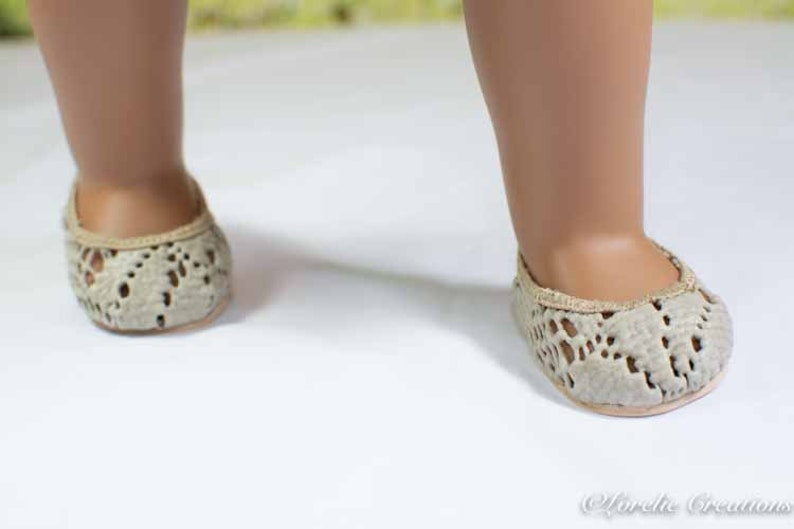 377b49ed0a139 FLATS SHOES Slippers in Beige Taupe Lacy Vinyl for American Girl or 18 inch  doll