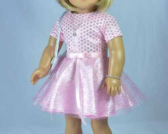 18 Inch Doll DRESS in Pink Satin Tulle with Two Belts PURSE Necklace Bracelet Hair Bow and SANDALS for dolls like American Girl