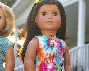 """TANK TEE Top in Purple, Pink, Turquoise, Yellow Tie Dye Print with Surprise NECKLACE for American Girl or 18"""" Doll"""
