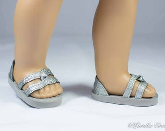 American Girl or 18 inch doll SHOES SANDALS beach flip flops peeptoe flats in SILVER with Closed Heel