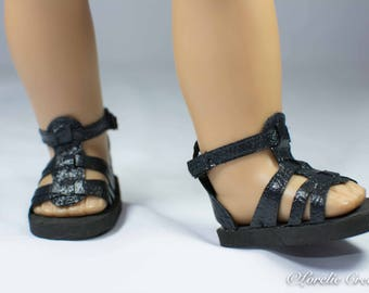 American Girl 18 inch doll SANDALS SHOES Gladiator Style in Black Faux Leather with Ankle Strap