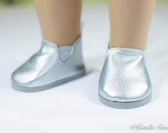 "Doll Ankle BOOTS in Short Length SILVER Faux LEATHER for American Girl or 18 "" Doll"