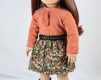 American Girl or 18 Inch Doll SKIRT in Floral Print with Rust Pumpkin TEE Shirt Top Belt and BOOTS Option