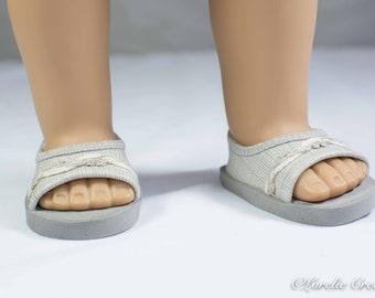 18 inch doll SHOES SANDALS beach flip flops peeptoe flats in Beige Gray Taupe Linen Look Vinyl with Linen Trim for Dolls like American Girl