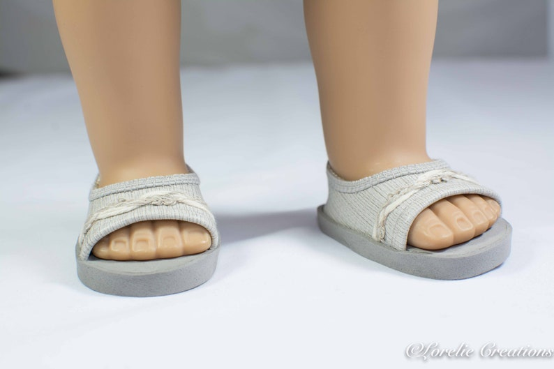 0103ae4a70098 18 inch doll SHOES SANDALS beach flip flops peeptoe flats in Beige Gray  Taupe Linen Look Vinyl with Linen Trim for Dolls like American Girl
