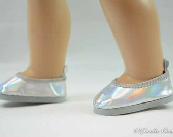"""Luciana Cinderella """"Glass""""SILVER """"Leather"""" Ballerina flats SHOES Slippers for American Girl or 18 inch doll"""