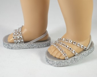 """American Girl or 18 inch doll Ballerina princess party SANDALS SHOES Flipflops dressy Triple """"Fan"""" Straps in SILVER sparkle"""