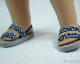 American Girl or 18 inch doll SANDALS SHOES Flipflops Ballerina Princess Party Dressy Double Straps Navy Blue with Silver Chain look Accent