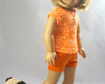 """TEE Top Blouse SHIRT in Orange Tangerine with Sparkle Glitter Sequins and NECKLACE for American Girl or 18"""" Doll"""