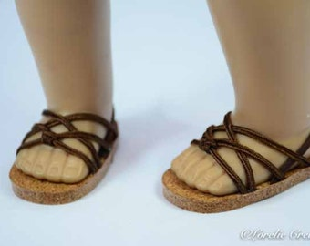 American Girl 18 inch doll SANDALS SHOES Flipflops in Chocolate Brown Cord with Four Criss-Cross Straps with Heel Strap