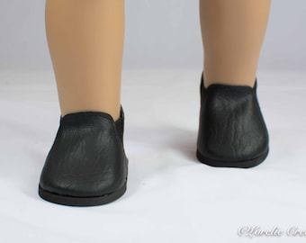 "Doll Ankle BOOTS in Short Length BLACK Faux LEATHER for American Girl or 18 "" Doll"