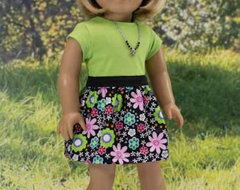 American Girl or 18 Inch Doll SKIRT in Black Pink Green Blue Floral Print with Lime Green TEE Shirt Top Necklace and SANDALS Option