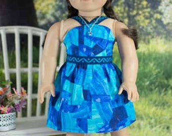 SUNDRESS Dress in Blue Abstract Print with Belt NECKLACE and SANDALS Option for American Girl or 18 inch Doll