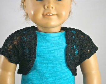 Short CARDIGAN JACKET in Black LACE for American Girl or 18 inch doll