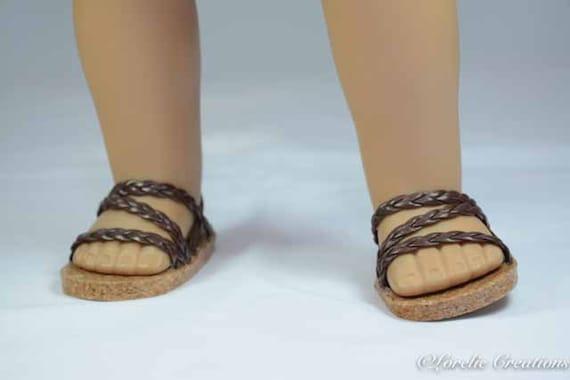 Poupée Chaussures Sandals Plates Rose Cuir PU Pour 18 /'/' AG American Doll Doll