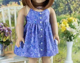 18 Inch Doll DRESS Sundress in Purple Batik with Necklace  and SANDALS Option for dolls like American Girl