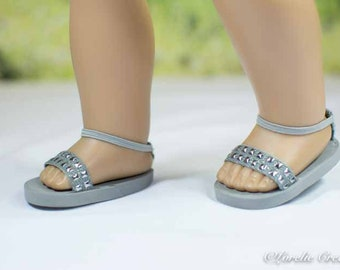 American Girl or 18 inch doll SANDALS SHOES Flipflops in Silver and Gray with Nailhead Trim and  Ankle Strap