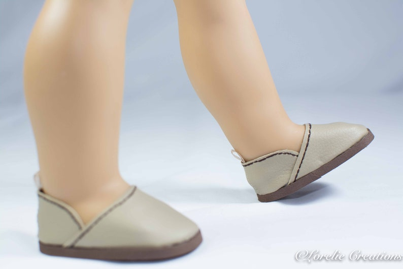 7cfd1db79d0d0 18 Inch Doll SHOES Flats ESPADRILLES in Beige Taupe Faux Leather for doll  like American Girl
