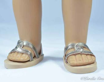 American Girl or 18 inch doll SHOES SANDALS beach flip flops peeptoe flats in GOLD with Closed Heel