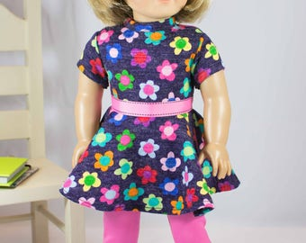 DRESS Tunic Purple with Flowers and Pink LEGGINGS Hairbow and Three Boots Shoes Options for American Girl or 18 inch Doll