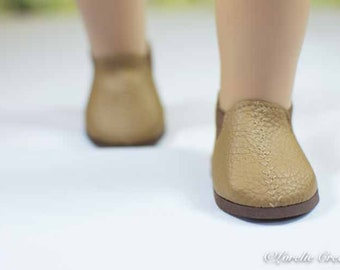 "Doll Ankle BOOTS in Short Length CAMEL Tan Faux LEATHER for American Girl or 18 "" Doll"