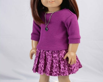 SKIRT in Magenta Purple Pleated with Magenta Purple  3/4 Sleeve Mock TURTLENECK Shirt Top Necklace and BOOTS Option for 18 Inch Dolls like A
