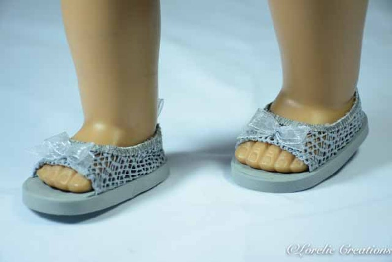 6cc4c92e9a765 American Girl or 18 inch doll SHOES SANDALS beach flip flops peeptoe flats  in Silver Gray LACY Look with Bow Trim