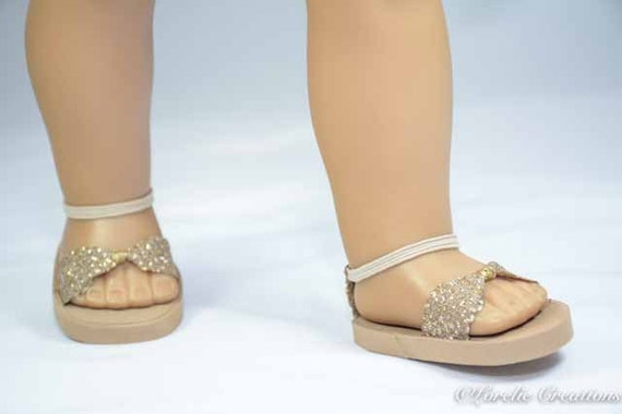 "Doll Clothes Tall Gold Gladiator Sandals For 18/"" American Girl Shoes Accessory"