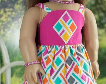 SUNDRESS Dress in Pink Aqua Geometric Print with JEWELRY and SANDALS Option for American Girl or 18 inch Doll