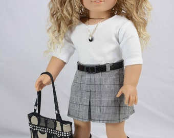 American Girl or 18 Inch Doll Mini SKIRT Black Plaid 3/4 Sleeve TEE Shirt Top  Necklace and BOOTS Option