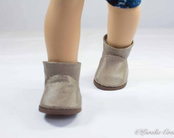 """Doll Ankle BOOTS in Short Length in BEIGE Taupe Tan Faux LEATHER with Decorative Stitching Trim for American Girl or 18 """" Doll"""