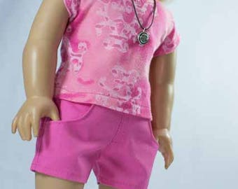 SHORTS in Bright Hot Pink with Pink Burnout TEE Shirt and NECKLACE and Sandals Option for American Girl or 18 Inch Doll