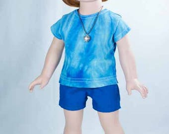 SHORTS in Blue with Blue Tie Dye TEE Shirt and NECKLACE and Sandals Option for American Girl or 18 Inch Doll