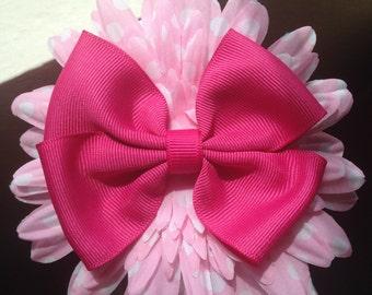 Pink Polka Dots Flower Hair Box Clip