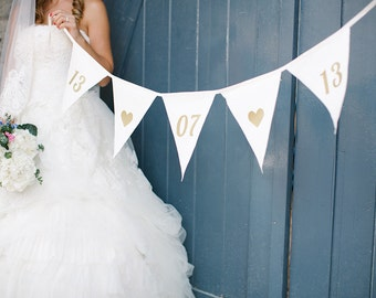 Gold Bunting, Custom Bunting, Photo Prop, Wedding Bunting, Fabric Bunting, Party Decoration, Fabric Banner, Gold on Ivory, Wedding props