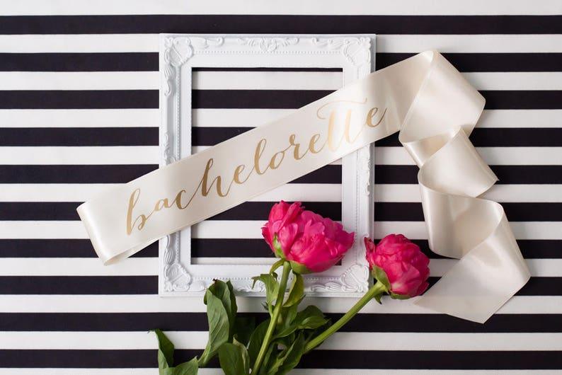 Bachelorette sash  Gold on Ivory image 0