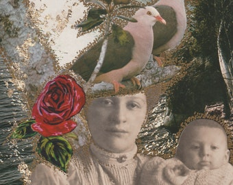 """TURTLE DOVES Collage SIGNED  Original Artwork Mixed Media Outsider Art 5""""X7""""  By Found Object Artist Luanie LA099"""