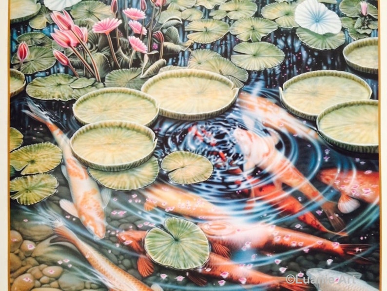 SHADOW GLADES  By Neely Taugher Printed by Icart Vendor Graphics 1994  Uncirculated Vintage Art Poster w24xh34 Beautiful Nature Koi P-7