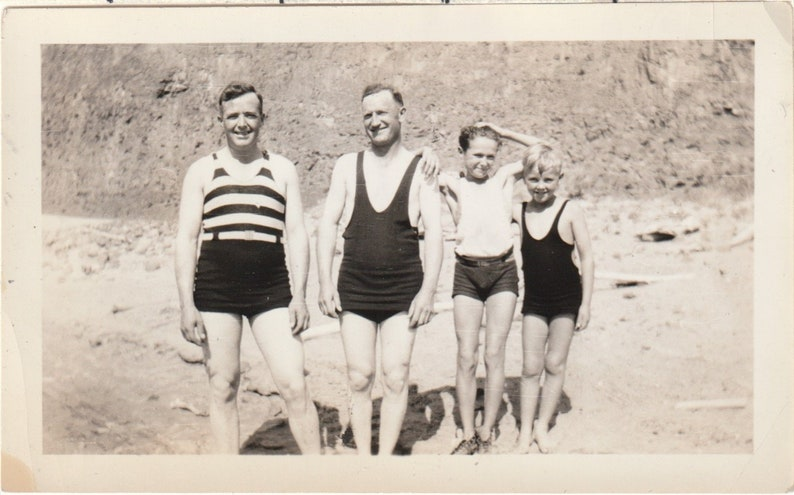 2 Men 2 Boys on the Sandy Bank in Old Fashioned Bathing Suits Vintage Photograph Original Black and White Photo Snapshot H-189