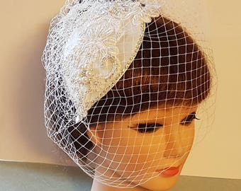 8db61dc29 Bridal crystal hat & birdcage veil 2Pc, bridal accessory, Crystal Pearls hat  cage veil, Bridal fascinator hat, wedding Hat fascinator veil