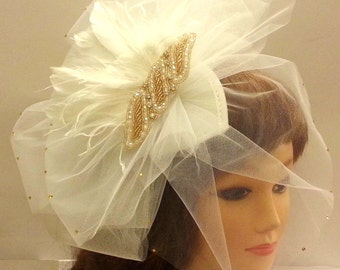 1ac7c353e75ff wedding veil. POUF fluffy White Ivory blusher Veil vintage inspired gold  crystal pearls feather fascinator Bridal teardrop hat blusher veil