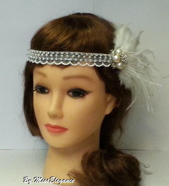 1920s Gatsby,fascinator bridal// bridesmaid Stunning feather diamante hair clip