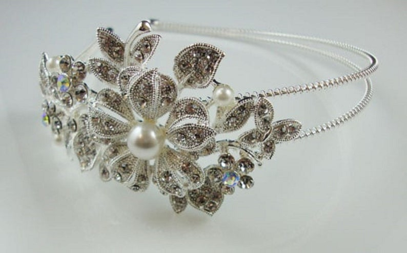 1920s Inspired side Tiara Headband Exquisitely Precious Bridal vintage headband encrusted diamante stones and Pearl on silver frame