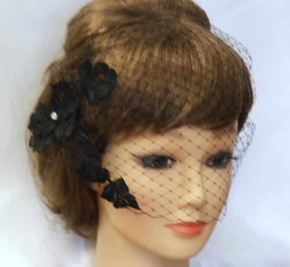 Black Birdcage veilBlusher veil with Motif 9 inch French net  a664e910f29