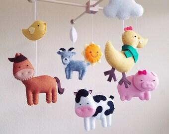 "Farm mobile, Barnyard nursery, baby mobile, crib mobile, farm house nursery, cow mobile, boy mobile, girl mobile, felt mobile, ""Barnyard"""