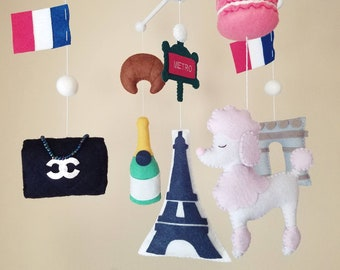 """Paris mobile, French themed mobile, French nursery decor, Parisian baby room, Crib mobile, Baby mobile, Felt mobile, """"Aux Champs Elysees"""""""
