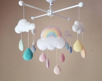 """Rainbow felt mobile, Rainbow mobile, neutral mobile, girl baby mobile, crib mobile, Felt mobile cloud, Cloud nursery decor """"Rainbow 2"""""""