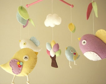 "Baby crib mobile, Bird mobile, felt mobile, nursery mobile, baby mobile,""Bird - migi little tree 3"""